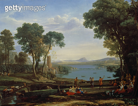 <b>Title</b> : Landscape with the Marriage of Isaac and Rebekah (The Mill) 1648 (oil on canvas)<br><b>Medium</b> : oil on canvas<br><b>Location</b> : National Gallery, London, UK<br> - gettyimageskorea
