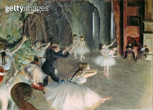 <b>Title</b> : The Rehearsal of the Ballet on Stage, c.1878-79 (pastel on paper)<br><b>Medium</b> : pastel on paper<br><b>Location</b> : Metropolitan Museum of Art, New York, USA<br> - gettyimageskorea