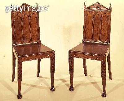 Pair of Regency hall chairs in the Gothic style - gettyimageskorea