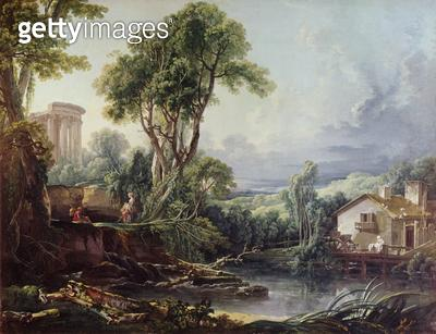 <b>Title</b> : Landscape with a Watermill (oil on canvas)<br><b>Medium</b> : <br><b>Location</b> : The Bowes Museum, Barnard Castle, County Durham, UK<br> - gettyimageskorea