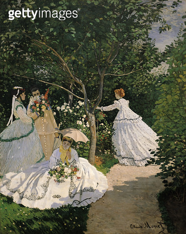 <b>Title</b> : Women in the Garden, 1867 (oil on canvas)<br><b>Medium</b> : oil on canvas<br><b>Location</b> : Musee d'Orsay, Paris, France<br> - gettyimageskorea