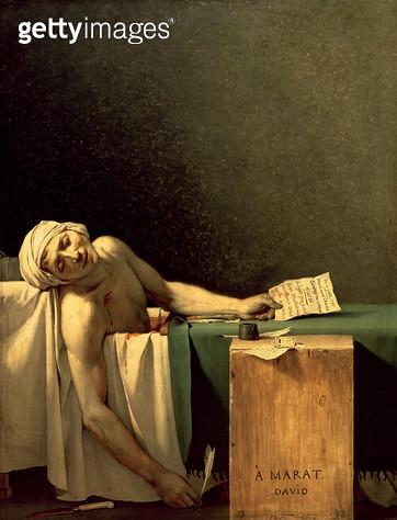 <b>Title</b> : The Death of Marat, 1793 (oil on canvas)<br><b>Medium</b> : oil on canvas<br><b>Location</b> : Musees Royaux des Beaux-Arts de Belgique, Brussels, Belgium<br> - gettyimageskorea