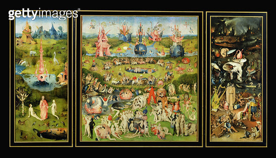 <b>Title</b> : The Garden of Earthly Delights, c.1500 (oil on panel)<br><b>Medium</b> : oil on panel<br><b>Location</b> : Prado, Madrid, Spain<br> - gettyimageskorea
