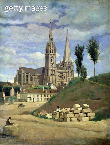 <b>Title</b> : Chartres Cathedral, 1830 (oil on canvas)<br><b>Medium</b> : oil on canvas<br><b>Location</b> : Louvre, Paris, France<br> - gettyimageskorea