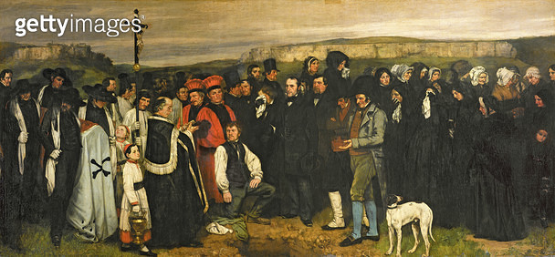 <b>Title</b> : Burial at Ornans, 1849-50 (oil on canvas)<br><b>Medium</b> : oil on canvas<br><b>Location</b> : Musee d'Orsay, Paris, France<br> - gettyimageskorea