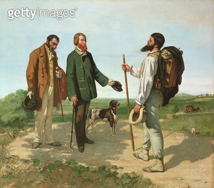 <b>Title</b> : La Rencontre, or Bonjour Monsieur Courbet, 1854 (oil on canvas)<br><b>Medium</b> : oil on canvas<br><b>Location</b> : Musee Fabre, Montpellier, France<br> - gettyimageskorea
