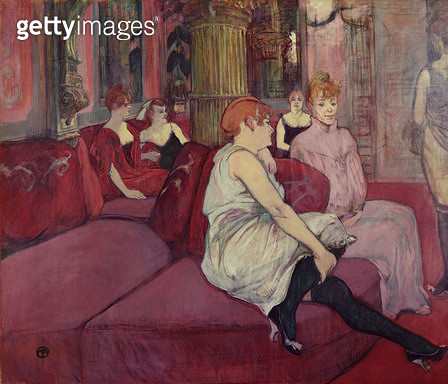 <b>Title</b> : In the Salon at the Rue des Moulins, 1894 (charcoal & oil on canvas)<br><b>Medium</b> : charcoal and oil on canvas<br><b>Location</b> : Musee Toulouse-Lautrec, Albi, France<br> - gettyimageskorea