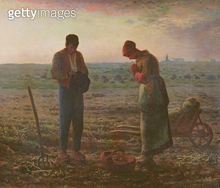 <b>Title</b> : The Angelus, 1857-59 (oil on canvas)<br><b>Medium</b> : oil on canvas<br><b>Location</b> : Musee d'Orsay, Paris, France<br> - gettyimageskorea