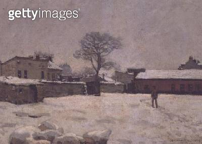 <b>Title</b> : Under Snow: the farmyard at Marly-le-Roi, 1876 (oil on canvas)Additional InfoSous la Neige, cour de ferme;<br><b>Medium</b> : oil on canvas<br><b>Location</b> : Musee d'Orsay, Paris, France<br> - gettyimageskorea