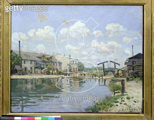<b>Title</b> : The Canal Saint-Martin, Paris, 1872 (oil on canvas)<br><b>Medium</b> : oil on canvas<br><b>Location</b> : Musee d'Orsay, Paris, France<br> - gettyimageskorea