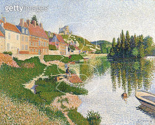 <b>Title</b> : The River Bank, Petit-Andely, 1886 (oil on canvas)<br><b>Medium</b> : oil on canvas<br><b>Location</b> : Musee d'Orsay, Paris, France<br> - gettyimageskorea