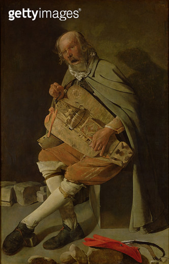 <b>Title</b> : The Hurdy Gurdy Player, 1620s (oil on canvas)<br><b>Medium</b> : oil on canvas<br><b>Location</b> : Musee des Beaux-Arts, Nantes, France<br> - gettyimageskorea