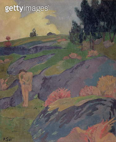 <b>Title</b> : Melancholia, or Breton Eve, c.1890<br><b>Medium</b> : oil on canvas<br><b>Location</b> : Private Collection<br> - gettyimageskorea